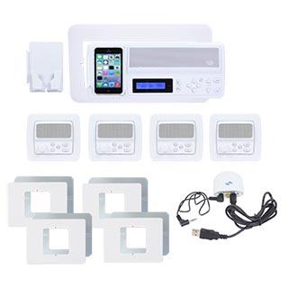 IntraSonic R-MH4PAC 4-Room White Horizontal Intercom Kit with Bluetooth No Door or Patio