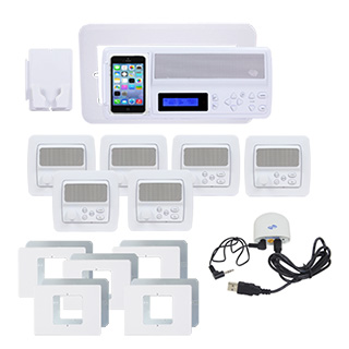 IntraSonic R-MHPAC 5-Room White Horizontal Intercom Kit with Bluetooth No Door