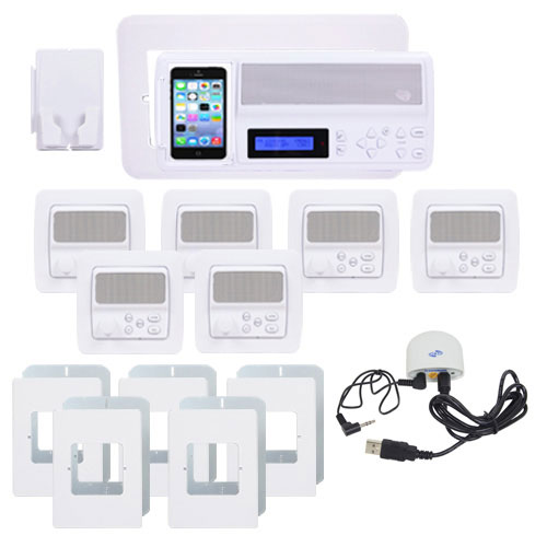 5-Room White Vertical Intercom Kit with Bluetooth No Door